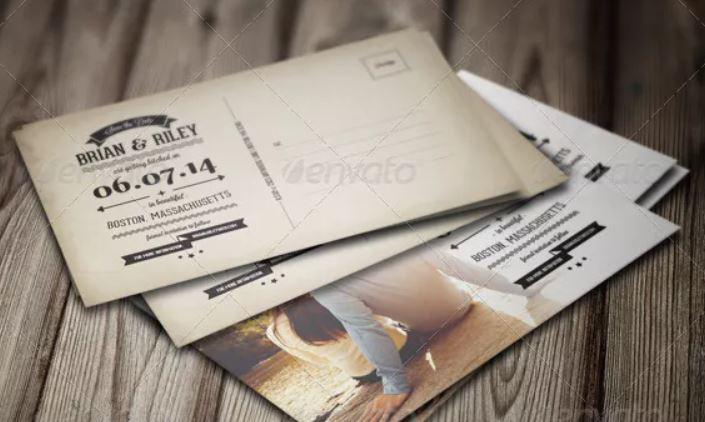 tarjeta de boda vintaje